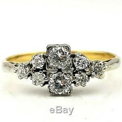 Antique Art Deco 18ct Gold & Platinum 0.5ct Diamond Ring Size UK L, US 6, EU51.5