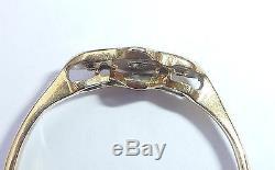 Antique Art Deco 18ct Gold, Platinum & Diamond Three Stone Ring, Size L