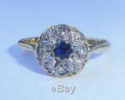 Antique Art Deco 18ct Gold, Platinum, Sapphire & Diamond Star Ring, Size M