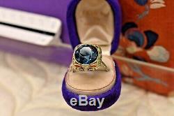 Antique Art Deco 18k yellow white gold filigree enamel large blue zircon ring