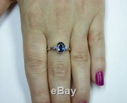 Antique Art Deco Blue Sapphire Diamond Platinum Engagement Ring