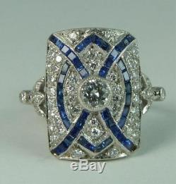 Antique Art Deco Blue Sapphire & White Diamond Vintage Engagement Wedding Ring