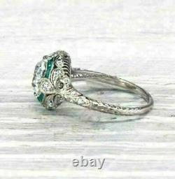 Antique Art Deco Emerald 3.12Ct Round Diamond Engagement Ring In 14K White Gold
