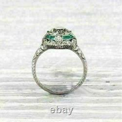 Antique Art Deco Emerald 3.33Carat Round Diamond Engagement Ring 14K White Gold