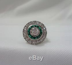 Antique Art Deco Emerald and Diamond Ring Large Cluster Platinum -Size J 1/2
