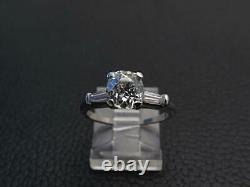 Antique Art Deco GIA 1.21ct Old Mine Cut Diamond Engagement Platinum Ring