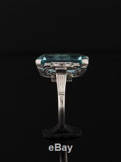 Antique Art Deco Natural Aquamarine And Diamond Design Ring
