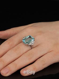 Antique Art Deco Natural Aquamarine And Diamond Design Ring
