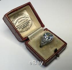 Antique Art Deco Old European cut 7.35 CTW diamond platinum Engagement Ring