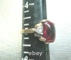 Antique Art Deco Ostby Barton 10k Red Cabochon & Diamond Ring Sz 5 Titanic