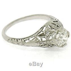 Antique Art Deco Platinum 0.85ctw GIA European Diamond Filigree Engagement Ring