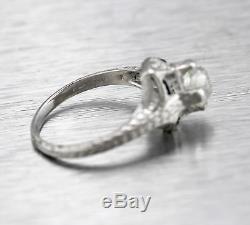 Antique Art Deco Platinum 0.89ctw Diamond Sapphire Filigree Engagement Ring