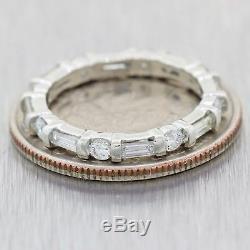 Antique Art Deco Platinum 1.05ctw Baguette Diamond Eternity Wedding Band Ring A9