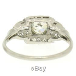 Antique Art Deco Platinum 1.29ctw European & Baguette VS Diamond Engagement Ring