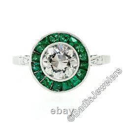 Antique Art Deco Platinum 2.02ctw European Diamond & Calibre Emerald Halo Ring