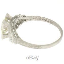 Antique Art Deco Platinum 2.10ctw Old European Diamond Solitaire Engagement Ring
