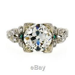 Antique Art Deco Platinum 2.51ctw GIA Round Diamond Solitaire Engagement Ring