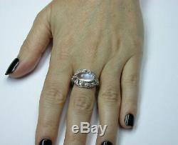 Antique Art Deco Platinum Blue Hue Moonstone Diamond Engagement Ring
