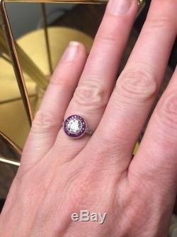Antique Art Deco Platinum Diamond & Ruby Ring Old Mine Cut Halo Set European. 80