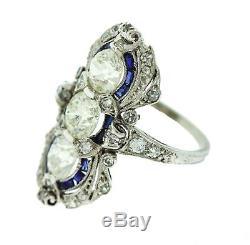 Antique Art Deco Platinum Old Mine 2.24ct Diamond Sapphire Cocktail Ring EGL USA