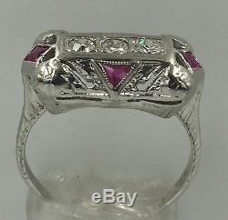 Antique Art Deco Ruby & Diamond 18K White Gold Ring Size 6