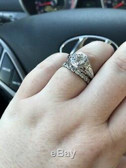 Antique Art Deco White Gold. 51 ct Round Diamond Filigree Engagement Ring