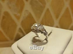 Antique Art Deco platinum 1.25ct old mine cut diamond VS engagement ring square