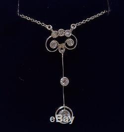 Antique Art Nouveau 0.50ct Diamond Drop Necklace In 18ct White Gold