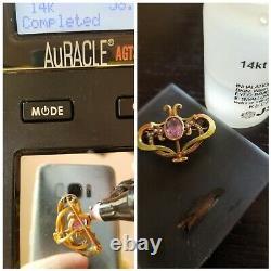 Antique Art Nouveau 14k Gold Amethyst Pearl Enamel Brooch Watch Pin 2.6 g