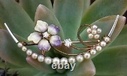 Antique Art Nouveau 14k Gold Diamond Pearl Enamel Flower Crescent Moon Brooch