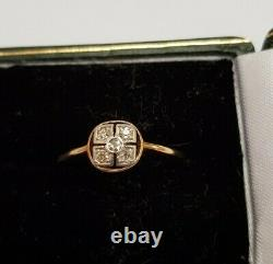 Antique Art deco18ct yellow Gold and 5 Diamond Ring UK Q
