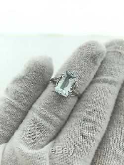 Antique Blue 2.0 ct Aquamarine Ring Emerald Cut 18k White Gold Size 7.5