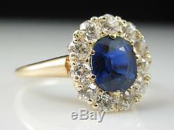 Antique Blue Sapphire Old Mine Diamond Ring 14K Yellow Gold Art Deco Vintage