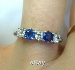 Antique Ceylon Sapphire Mine Cut Diamond 18K White Gold Ring Band Size 5.25
