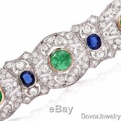 Antique Deco Diamond 27.46ct Sapphire Emerald Platinum Bracelet 58.6 Grams NR