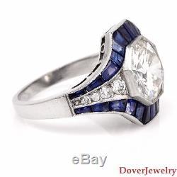 Antique Deco Diamond 4.74ct Sapphire Platinum Engagement Ring 6.2 Grams NR