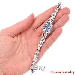 Antique Diamond 10.53ct Aquamarine Platinum Link Bracelet 33.0 Grams NR