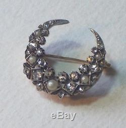 Antique Diamond & Natural Pearl Crescent Brooch