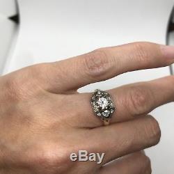 Antique Edwardian 14k rose white gold old European cut diamond engagement ring