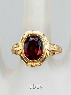 Antique Edwardian 1900s 3ct Natural Garnet 10k Yellow Gold Ring
