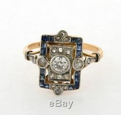 Antique Edwardian Diamonds Sapphires Platinum 18K Yellow Gold Ring