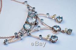 Antique Edwardian Era Aquamarine Gold Pendant Necklace