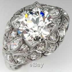 Antique Edwardian Vintage Engagement Wedding Ring 925 Silver Ring 2.5 Ct Diamond
