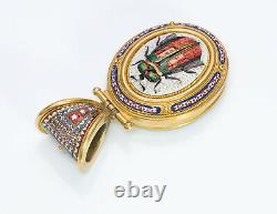 Antique Egyptian Revival Micro Mosaic Scarab Beetle Yellow Gold Locket Pendant
