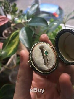 Antique Emerald 9ct Gold Ring Dainty Stacking N 6