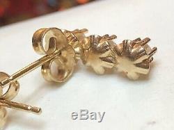 Antique Estate 14k Gold Diamond Earrings Wedding Drop Belcher Buttercup