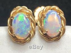 Antique Estate 14k Gold Natural Australian Opal Earrings Gemstone Victorian