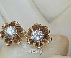 Antique Estate 14k Gold Natural Diamond Earrings Belcher Setting Victorian