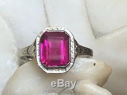 Antique Estate 14k White Gold Pink Sapphire Ring Emerald Cut Art Deco