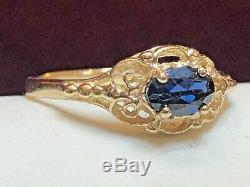 Antique Estate 14k Yellow Gold Blue Sapphire Ring Victorian Gemstone